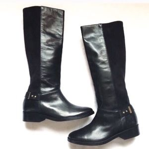 Cole Haan Black Leather Suede Riding Boots 8 NWOT